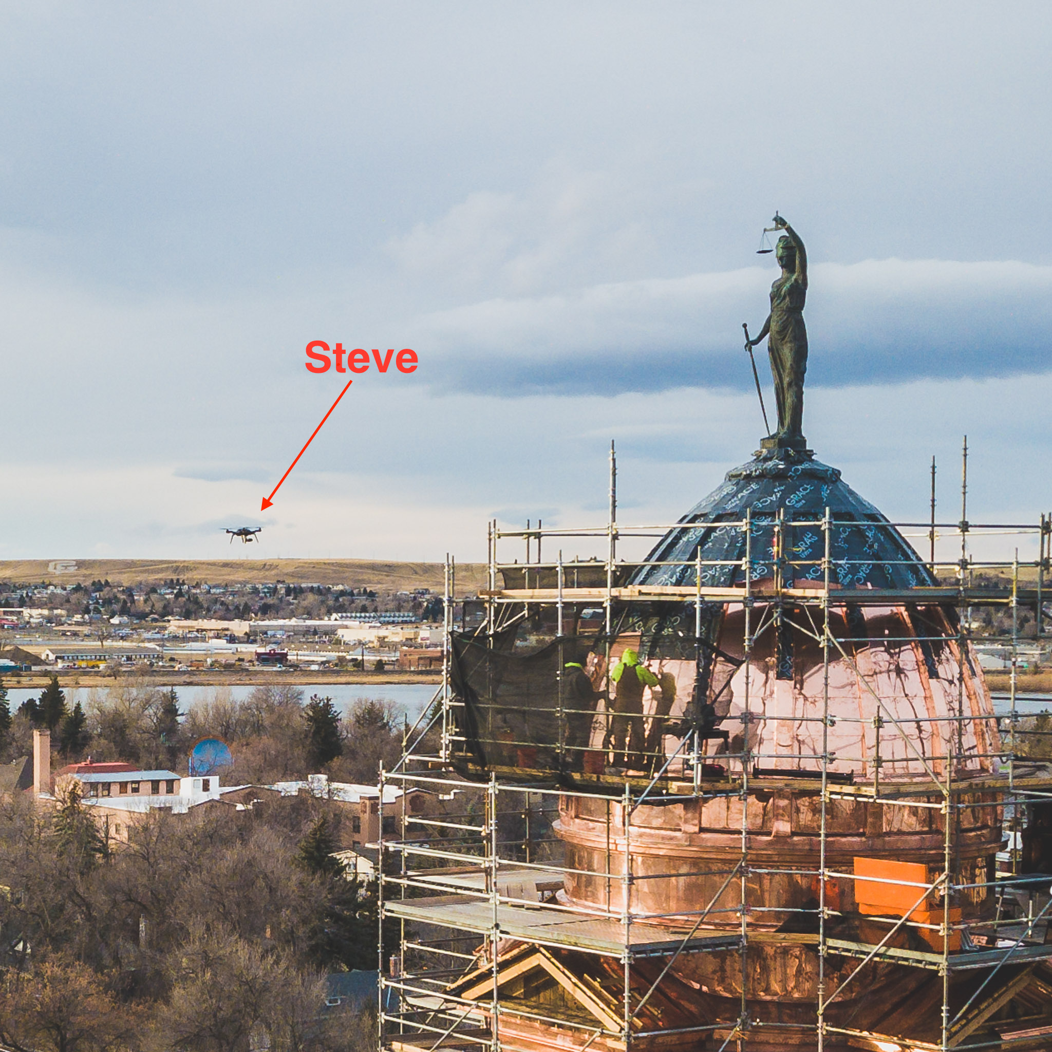 Steve's 3DR Solo photographing the new courthouse roof